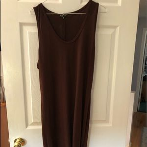 Brown polyester feel midi dress
